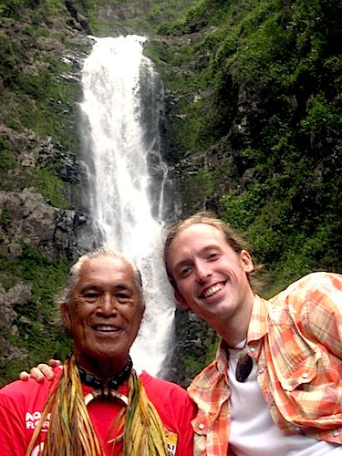 Anakala Pilipo and Jason Poole at Moaula Falls in Halawa Valley Molokai