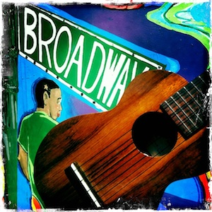 Jason Poole, Accidental Hawaiian Crooner, mural art, NYC, ukulele, Kamaka, strummin' in the city